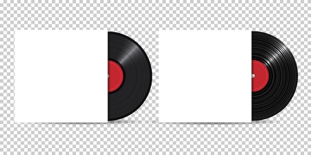 Disco in vinile con copertina vuota, stile realistico, set
