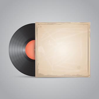Disco in vinile, disco. design realistico del pacchetto.