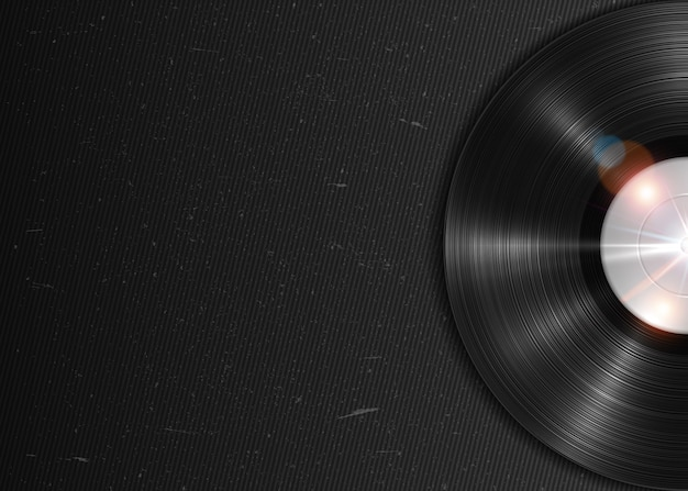 Disco in vinile lp di lunga durata realistico. annotazione del grammofono del vinile di vettore dell'annata sulla priorità bassa scura del grunge