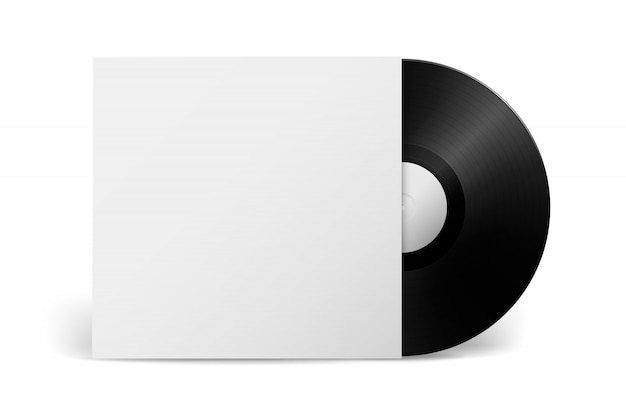 Disco lp in vinile con grammofono di musica realistica con copertina isolata su priorità bassa bianca. modello di gioco lungo retrò.