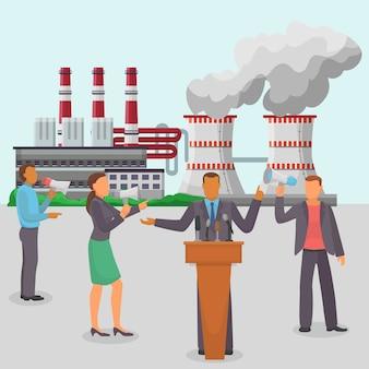 Discorso politico, fabbrica di inquinamento, illustrazione di contaminazione ambientale.
