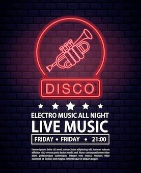 Discoteca electro musica invito poster luci al neon colori