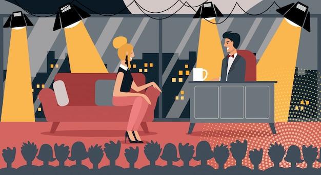 Discussione dell'ospite del talk show a tarda notte della celebrità