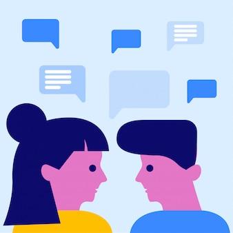 Discussione di uomo e donna sullo sfondo