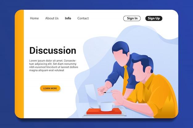 Discussione pagina di destinazione sullo sfondo.