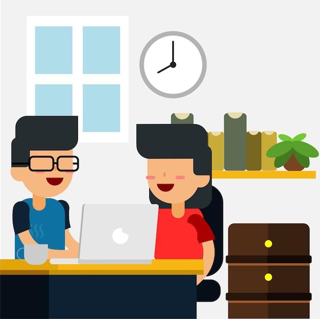 Discussione sul vettore dell'illustrazione dell'ufficio
