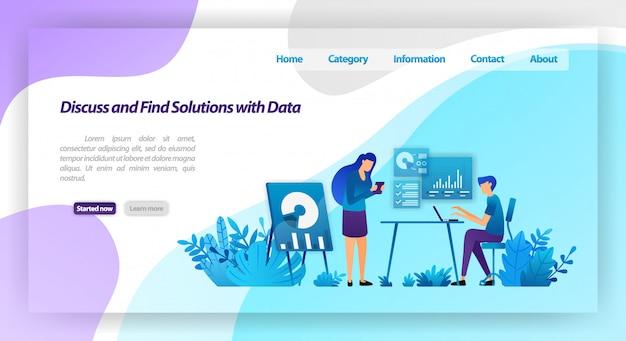 Discutere e trovare soluzioni ai problemi analizzando i dati. lavoratori che si incontrano per il dialogo commerciale. modello web della pagina di destinazione