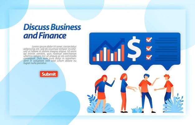 Discutere i grafici finanziari e aziendali della società attraverso il brainstorming e l'equiparazione delle idee per ottenere analisi e strategia. modello web della pagina di destinazione