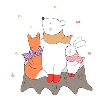 Disegna abbraccio orso coniglio e volpe con amore in autunno.