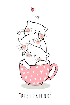 Disegna adorabile gatto dormire in una tazza di tè rosa pastello