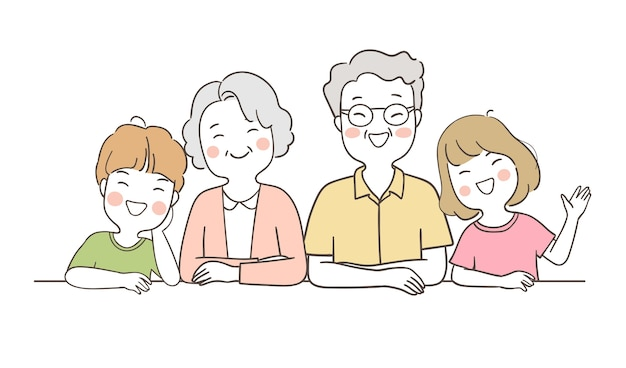 Disegna anziano anziano famiglia felice con ragazzo e ragazza