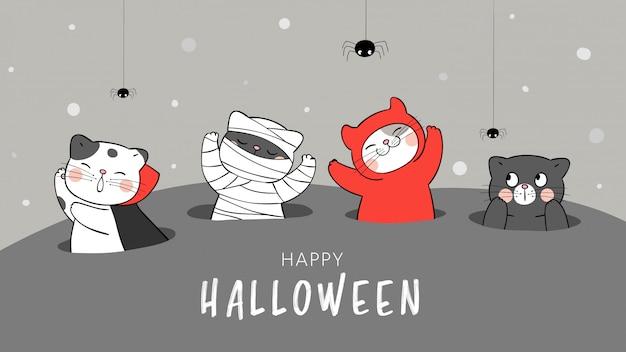 Disegna banner simpatico gatto nel buco. per il giorno di halloween.