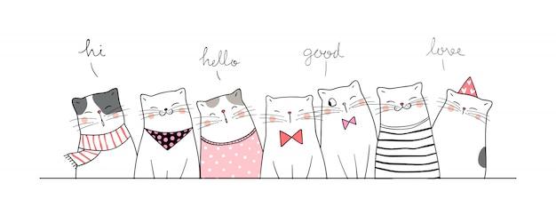 Disegna banner simpatico gatto saluta così divertente.