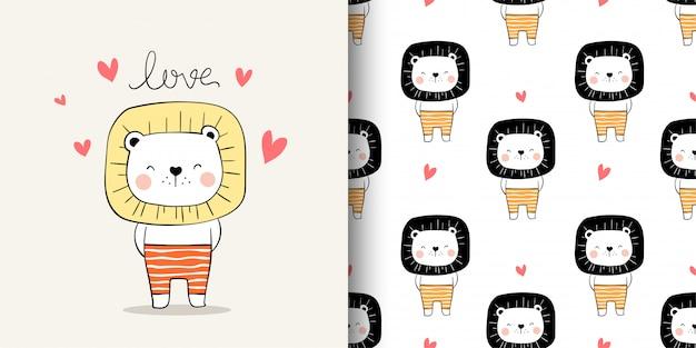 Disegna cartoncino e stampa leone per tessuti tessili per bambini.