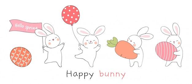 Disegna coniglio con uovo e carota su colore bianco per la primavera.