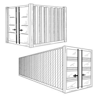 Disegna diversi contenitori. insieme disegnato a mano.