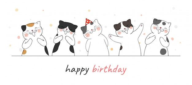 Disegna il banner carino gatto battendo le mani a mano e cantando per il compleanno.