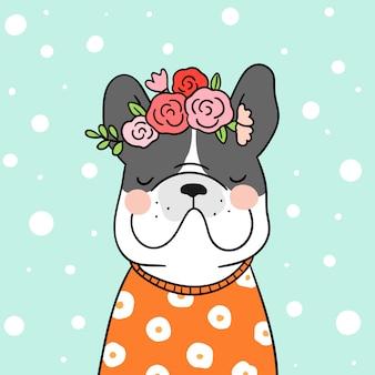 Disegna il bulldog francese con il fiore di bellezza sulla testa.