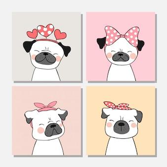 Disegna il cane del carlino con l'arco sulla testa per il biglietto di auguri.