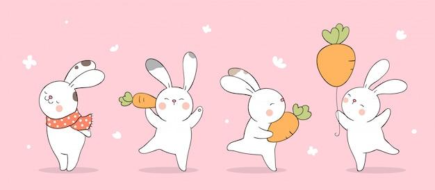 Disegna il coniglietto su un pastello rosa per la stagione primaverile.