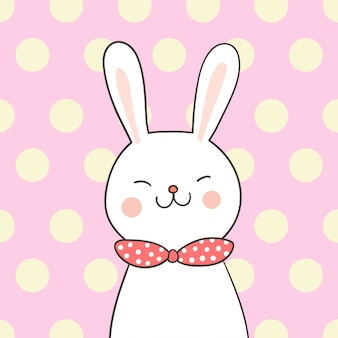 Disegna il coniglio bianco con l'arco rosa di bellezza sul pastello dolce