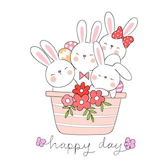 Disegna il coniglio carino in concetto di primavera vaso di fiori.
