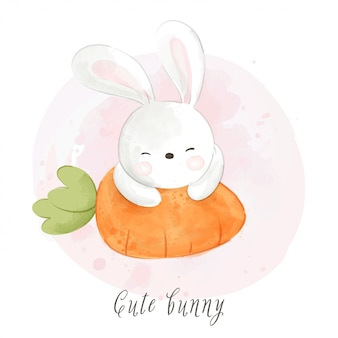 Disegna il coniglio che dorme sulla carota per il giorno di pasqua isolato su bianco.