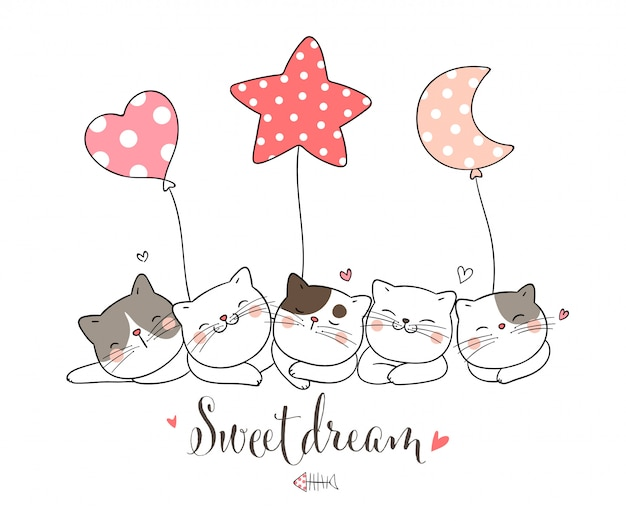 Disegna il gatto che dorme con il palloncino, a forma di cuore con la luna stellare.
