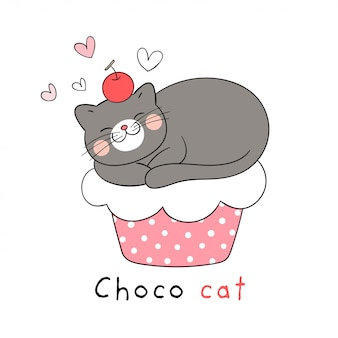 Disegna il gatto che dorme sul cupcake per il compleanno.