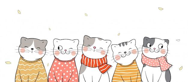Disegna il gatto felice dell'insegna con la sciarpa di bellezza per l'autunno.