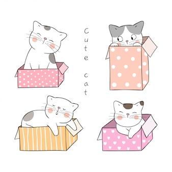 Disegna il gatto in scatola dolce isolata su bianco.