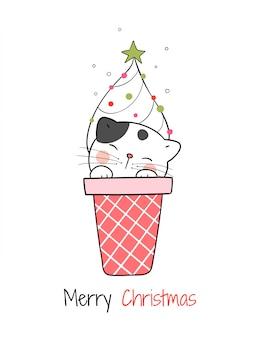Disegna il gatto nel cono gelato per il giorno di natale e capodanno.