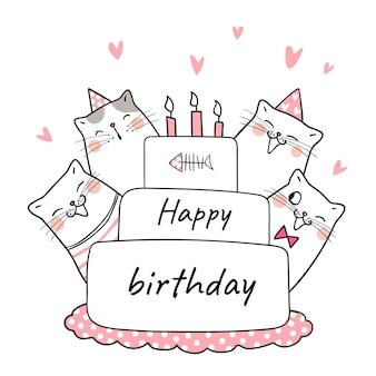 Disegna il gatto nella torta di bellezza per festeggiare il compleanno
