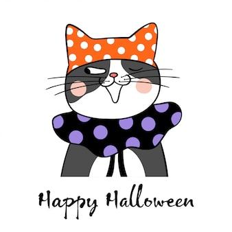 Disegna il gatto nero per lo stile doodle del giorno di halloween