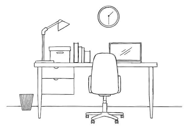 Disegna il luogo di lavoro davanti al computer. illustrazione