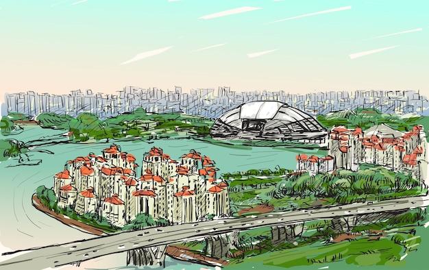 Disegna il paesaggio urbano dell'orizzonte di singapore su sports hub e fiume, illustrazione di tiraggio a mano libera