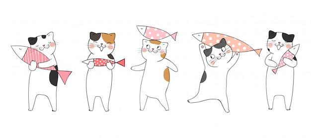 Disegna il pesce sveglio della tenuta del gatto su bianco.