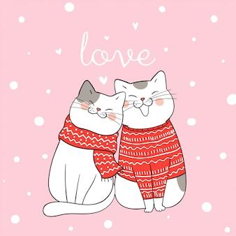 Disegna l'amore di coppia del gatto seduto nella neve per il giorno di natale.