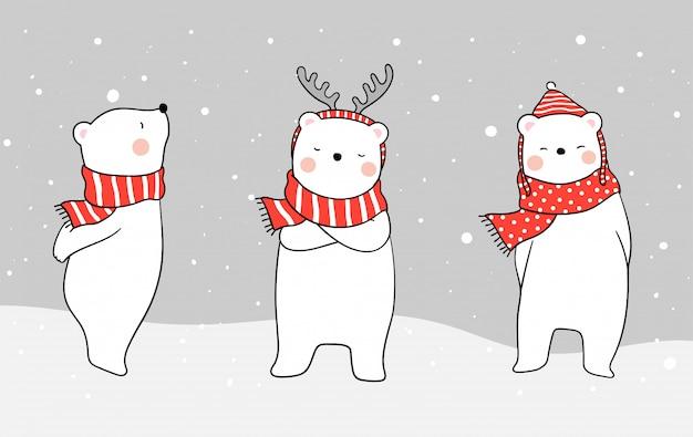 Disegna l'orso bianco con la sciarpa rossa nella neve per il giorno di natale