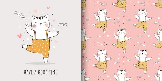 Disegna la cartolina d'auguri e stampa il modello senza cuciture del gatto per i tessuti in tessuto.