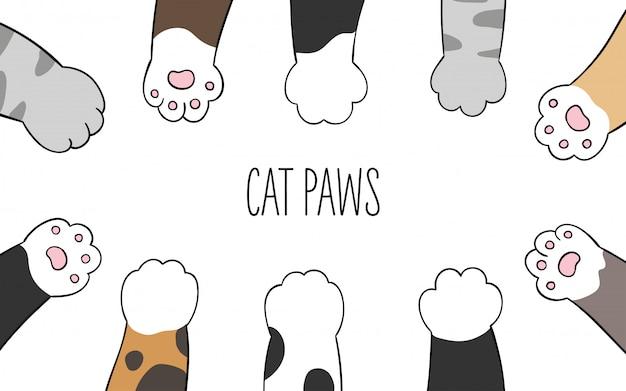 Disegna le zampe del gatto della bandiera di progettazione di carattere di vettore.