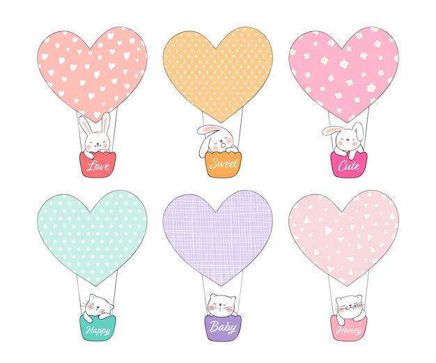 Disegna simpatici conigli e gatti in mongolfiera per san valentino