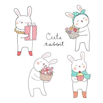Disegna un coniglio carino con un fiore per la stagione primaverile
