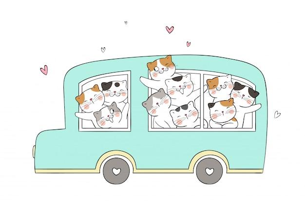 Disegna un gatto divertente nel bus verde pastello