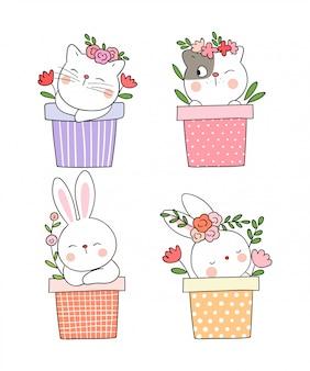 Disegna un gatto e un coniglio che dormono in vaso per la primavera.