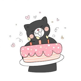 Disegna un gatto nero che tiene una torta dolce per il compleanno.