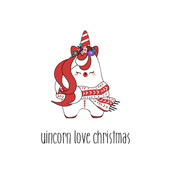 Disegna un piccolo unicorno carino per il giorno di natale.