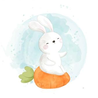 Disegna un simpatico coniglio seduto sulla carota per il giorno di pasqua.