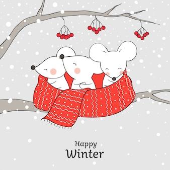 Disegna un simpatico topo in una sciarpa rossa per natale e capodanno.