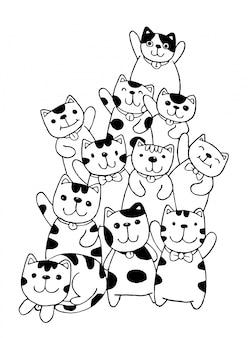 Disegnare a mano in bianco e nero cat characters set stile scarabocchi illustrazione colorazione per bambini